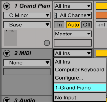 midi input ableton